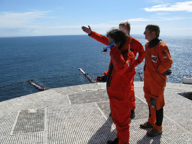 Alison Raby and team on the helipad on top of Eddystone Lighthouse
