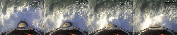 CCTV footage of wave run up at Eddystone Lighthouse