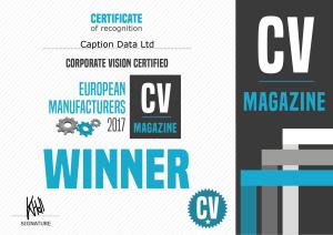 European Manufacturers 2017 Certificate