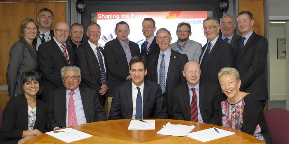 WMG visitors with Ed Milliband MP during industrial roungtable at WMG