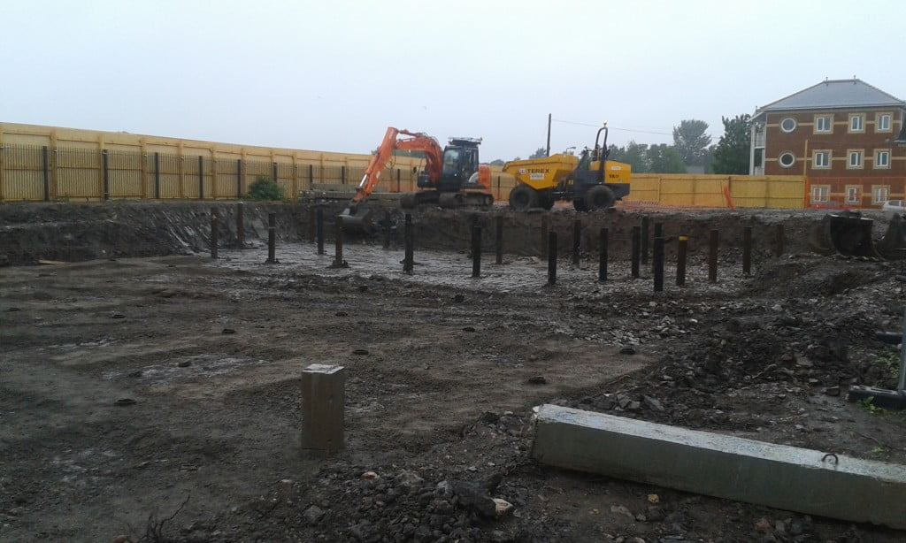 Steel and concrete piles at the Hamadryad development