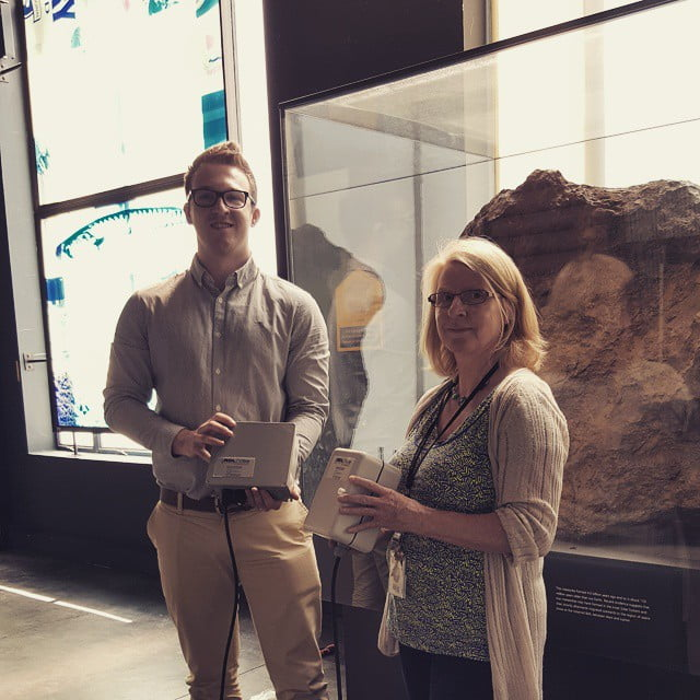 Callum Davies and a senior conservator at the Natural history Museum